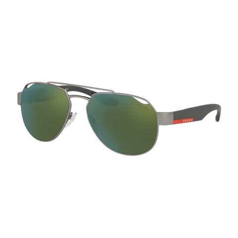 Prada Linea Rossa PS 57US DG13C0 59 Gunmetal Rubber Man Irregular Sunglasses