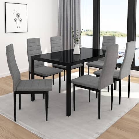 Contemporary 7pc Dining Set with Black Table & Grey Chair