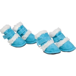 Shearling Duggz Pet Shoes, Blue & White, Large