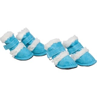Shearling Duggz Pet Shoes, Blue & White, Medium