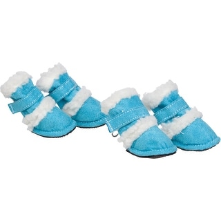 Shearling Duggz Pet Shoes, Blue & White, Small