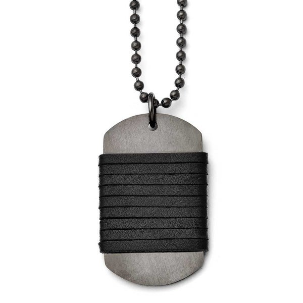Chisel Stainless Steel Brushed Dogtag Wrapped Leather Necklace (3 mm) - 26.5 in
