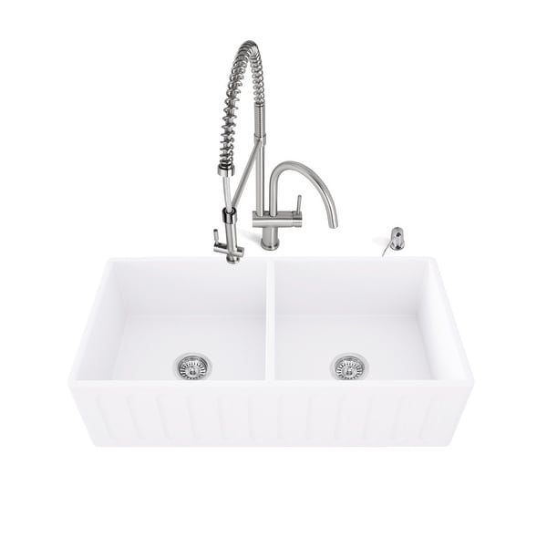 """Vigo VG15466 33"""" Double Basin Farmhouse Kitchen Sink with High-Arch Pre-Rinse Faucet, Soap Dispenser, Cutting Board, and Basket"""