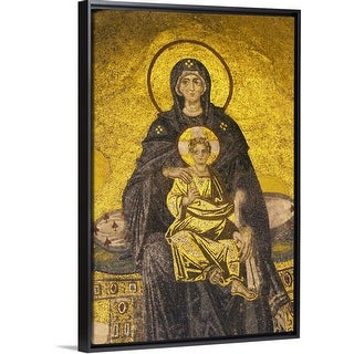 """Turkey, Hagia Sophia Mosque, mosaic depicting Virgin Mary with baby Jesus"" Black Float Frame Canvas Art"
