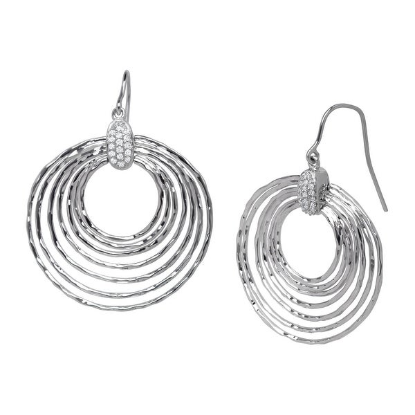 1/6 ct Diamond Circle Drop Earrings in Sterling Silver