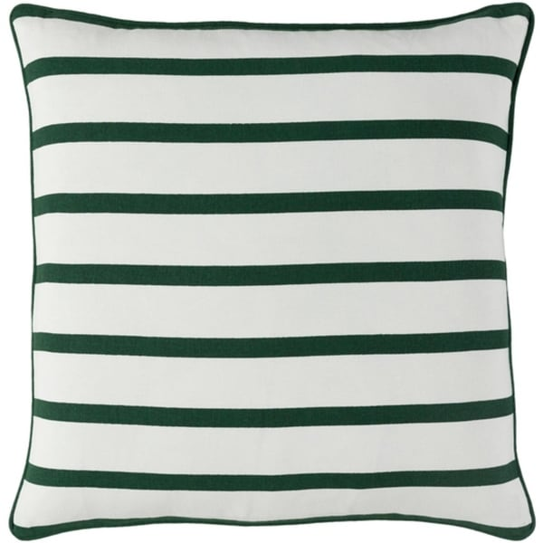 "18"" Forest Green and Snow White Candy Cane Strips Christmas Throw Pillow Cover"