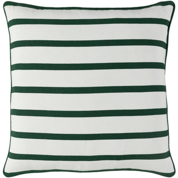 "18"" Forest Green and Snow White Candy Cane Strips Christmas Throw Pillow"