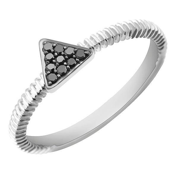 Prism Jewel 0.07Ct Round Black Diamond Triangle Shaped Fancy Ring