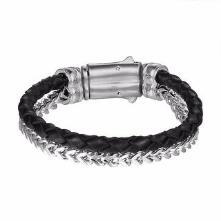 2 Row Franco Bracelet Black Leather Rope Stainless Steel Hip Hop Custom Mens
