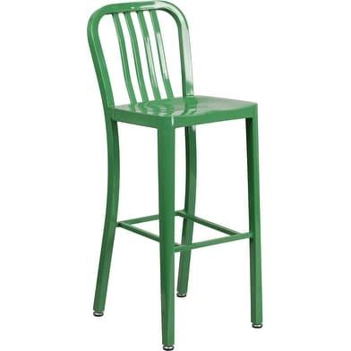 Shop Brimmes 30 High Metal Barstool Green Wvertical Slat Back