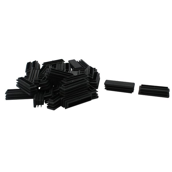 70pcs 15 x 50mm Plastic Rectangle Ribbed Tube Inserts End Cover Cap Furniture Glide Chair Sofa Feet Floor Protector