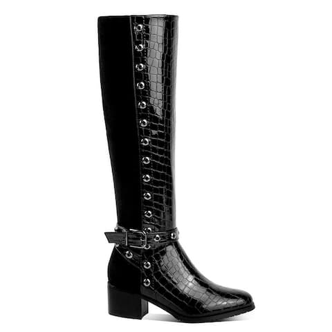 Ann Creek Women's Croc Accent Two Tone Perforated Trim Boots