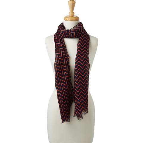 Tickled Pink Double Stripe Chevron Scarf