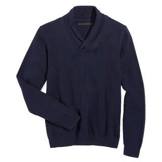 Sean John NEW Navy Blue Mens Size Large L Shawl-Collar Ribbed Sweater