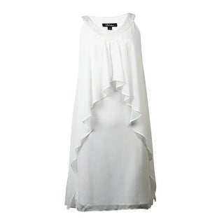 S.L. Fashions Women's Sequined V-Neck Flyaway Chiffon Dress - White - 6