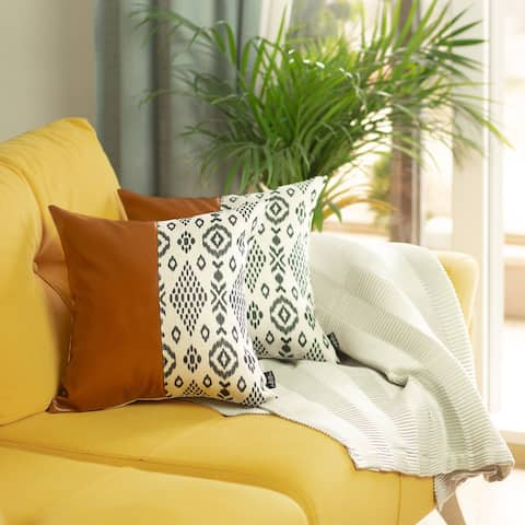 """Faux Leather Square 17"""" Throw Pillow Cover (Set of 2)"""