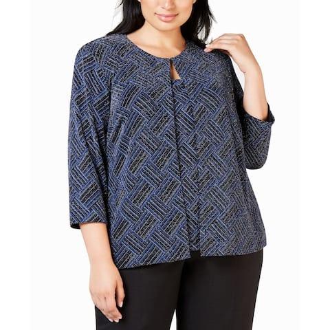 Alex Evenings Womens Twinset Blue Black Size 3X Plus Stretch Shimmer
