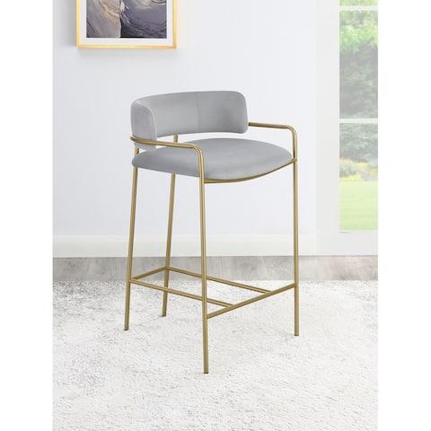 Allemonde Grey and Gold Low Back Upholstered Stool