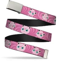 Blank Chrome Buckle Jigglypuff Poses Pink Swirl Webbing Web Belt