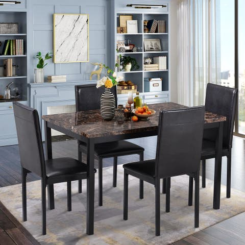 Nestfair Black 5-Piece Faux Mable and PU Leather Dining Set