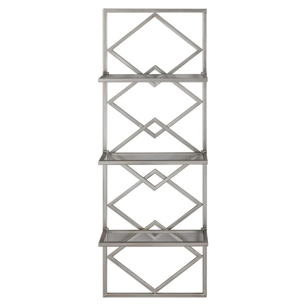 """52""""Iron Decorative Shelf with 3 Clear Glass Shelving - N/A"""