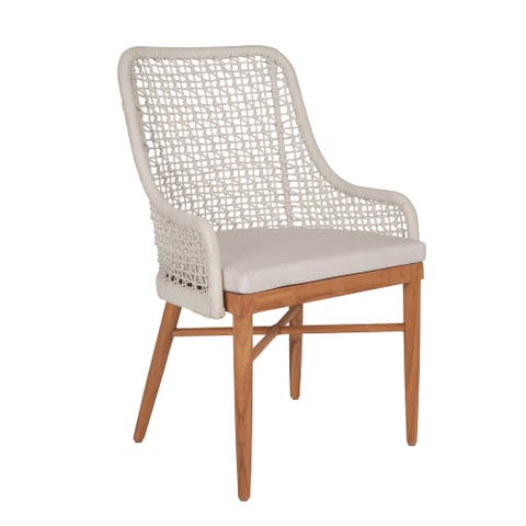 East at Main Finnie Outdoor Dining Chair, Teak, Synthetic Peel 23x22x35