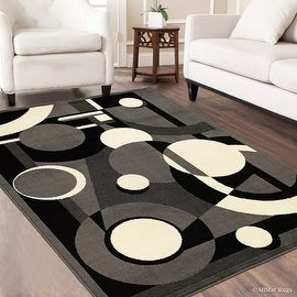 "Allstar Grey Area Rug. Contemporary. Abstract. Traditional. Geometric. Formal. Shapes. Circles (3' 9"" x 5' 1"")"