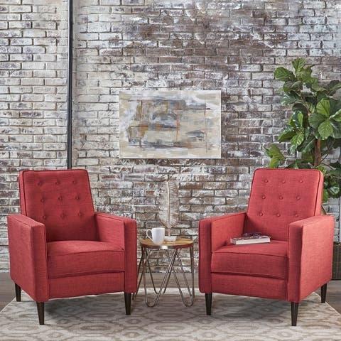 Strick & Bolton Simone 2-piece Mid-Century Recliner Club Chair Set