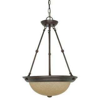 """Nuvo Lighting 60/3112 3 Light 15"""" Wide Pendant with Champagne Washed Linen Glass Shade"""