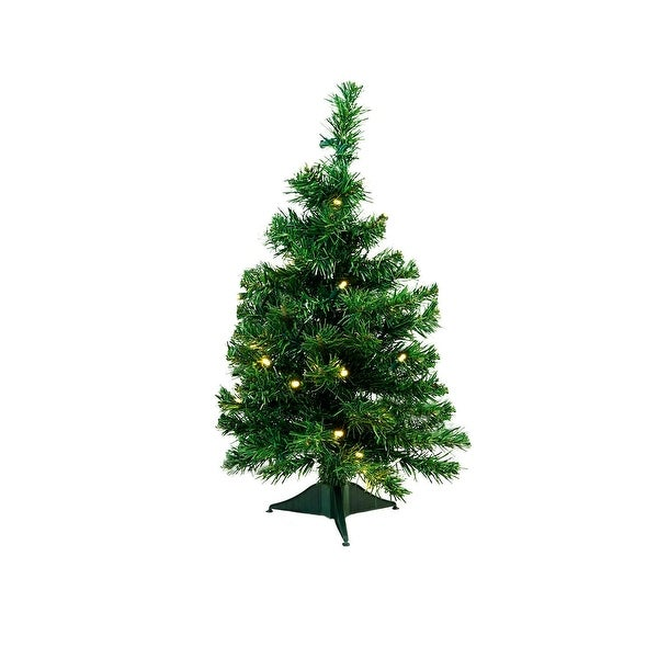 "2' x 14"" Pre-Lit Mixed Classic Pine Medium Artificial Christmas Tree - Warm Clear LED Lights - green"