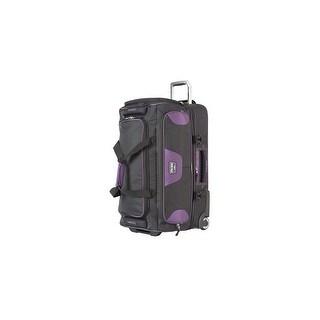"Travelpro TPB2 Black/Purple 30"" Polyester Fabric Drop Bottom Rolling Duffel w/ Adjustable Straps"
