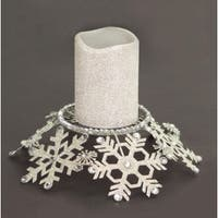 """9"""" Silver Snow Drift Snowflake Glittered and Jeweled Pillar Candle Holder"""