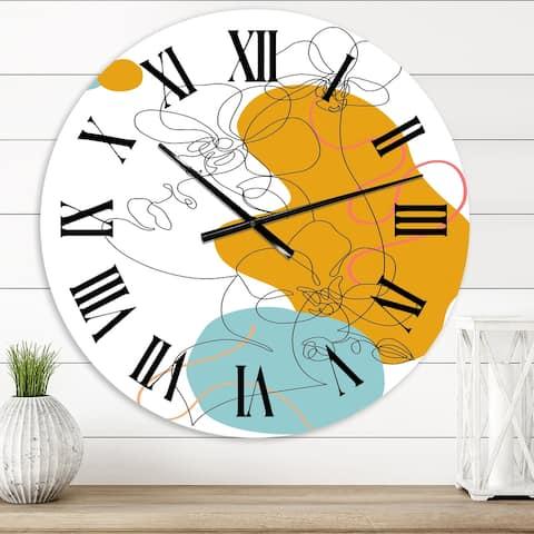 Designart 'Beautiful Woman One Line Drawing' Modern wall clock