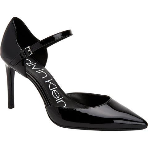 Calvin Klein Womens Roya Dress Heels Patent Leather Ankle Strap