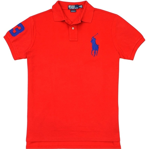 c72f05a956b0f Shop Polo Ralph Lauren Men s Custom-Fit Big Pony Mesh Polo Red Size ...