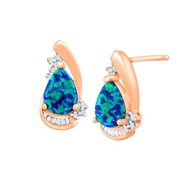 1/2 ct Created Blue Opal Earrings with Diamonds in 18K Rose Gold-Plated Sterling Silver