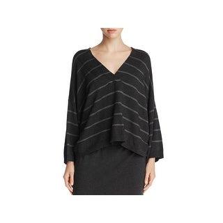 Eileen Fisher Womens Crop Sweater Tencel Striped