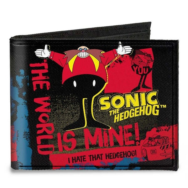 Doctor Eggman Pose The World Is Mine I Hate That Hedgehog Black Red Yellow Canvas Bi-Fold Wallet One Size - One Size Fits most