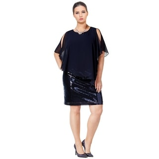 MSK Plus Size Navy Sequined Cold Shoulder Cocktail Dress