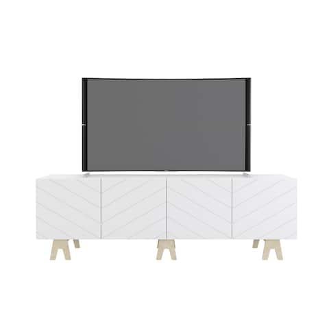 Nexera Runway 72-inch TV Stand, White and Russian Birch