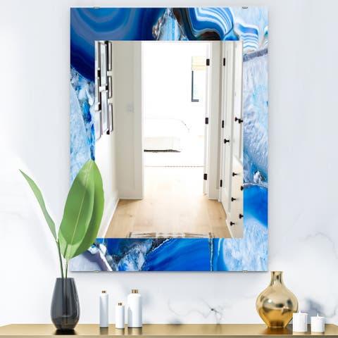 Designart 'Marbled Geode 11' Mid-Century Mirror - Frameless Wall Mirror