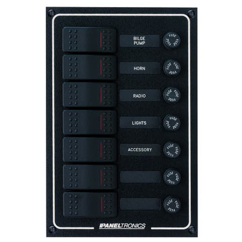 Paneltronics waterproof dc 7 position lighted rocker & fuse