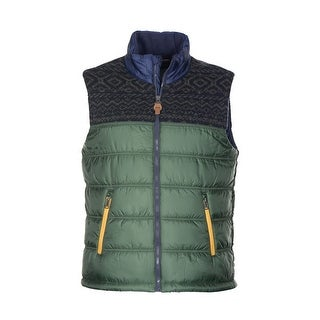 Tommy Hilfiger Kenne Fair Isle Vest Medium M Green and Navy Fleece Lining