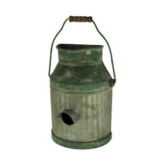 Galvanized Ribbed Metal Hanging Pail Planter and Bird House - 10.5 X 7.5 X 4 inches