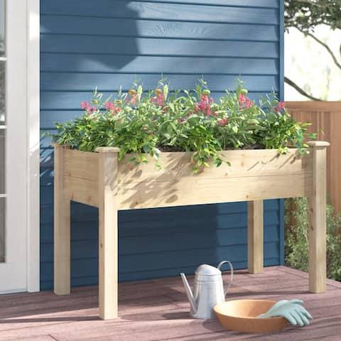 Ainfox 48in Wooden Elevated Garden Flower Bed Planter Box - 48''x24''x30''