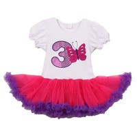 Little Girls White Purple Number Butterfly Applique Birthday Tutu Dress 3 Years