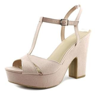 Nine West Womens Shanon Open Toe TStrap Platform Pumps Blush Size 9.5