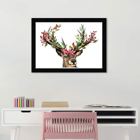 Wynwood Studio 'Poinsettia in Holidays' Animals Wall Art Framed Print Zoo and Wild Animals - Brown, Green