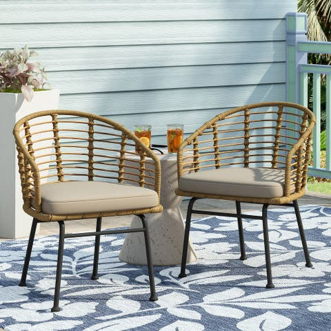 Randy Outdoor Wicker Chair with Water Resistant Cushion (Set of 2) by Christopher Knight Home