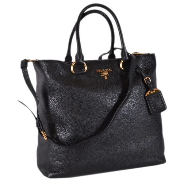 45ed48186d9b1d Prada 1BG865 Black Leather Vitello Phenix Convertible Tote Handbag Shopper